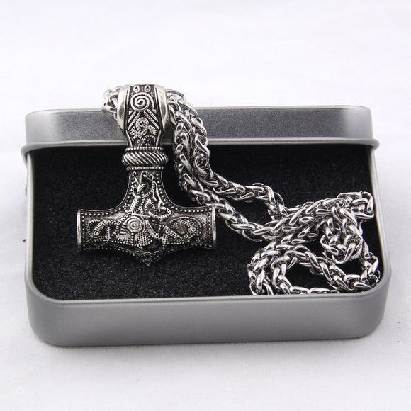 Dropshiping 1 pcs Huge Thor hammer Mjolnir Viking Amulet Hammer Scandinavian Pendant Norse Jewelry with stainless steel chain