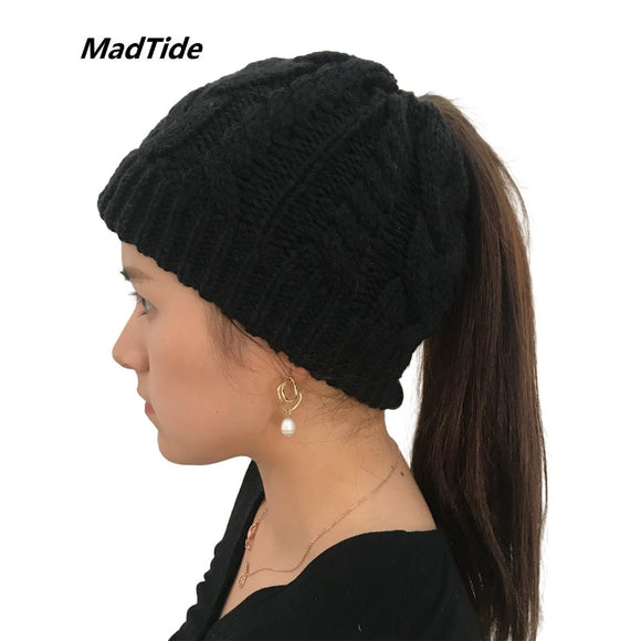 b3ea862fefd09 Women s Girls Stretch Knitted Wool Crochet Hats Caps Messy Bun Ponytail  Beanie Holey Warm Hat Winter