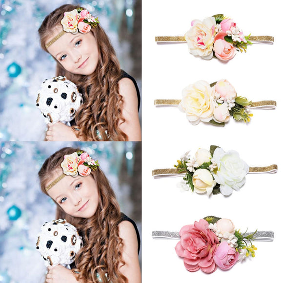 MISM 2019 New Arrival Girls Flower Crown Headband for Wedding Party Hair Band Accessories Princess Tiara Kids Headwear Wianek