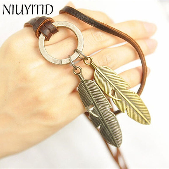 NIUYITID Men Necklace Jewelry Vintage 100% Genuine Leather Necklaces Leaf Pendants Male Female Leather Chain Necklace Jewellery
