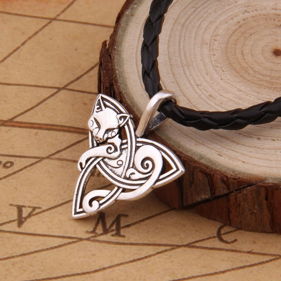 dropshiping Viking Jewelry Fox Triquetra Fenrir Animal Teen Wolf Necklace Irish Celtics Knot Pendant Amulet Necklace