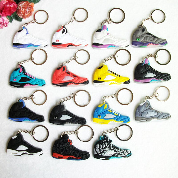 Mini Silicone Sneaker Jordan 5 Keychain Key Chain Shoes Car Key Holder Woman Men Bag Charm Accessories Key Rings Pendant Gifts