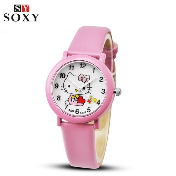 Hello Kitty Watch Children's Watches For Girls Cute Candy Leather Kids Watches Cartoon Baby Watch Gift Clock reloj montre enfant