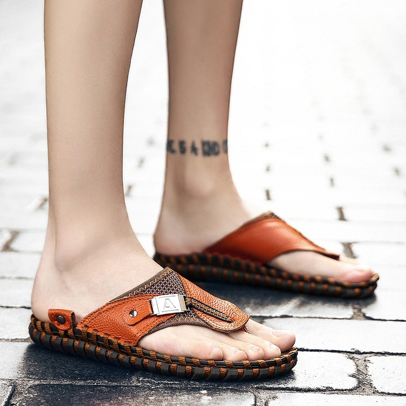 6e65e1f89 Men Slippers 2019 New Summer Beach Genuine Leather Shoes Men Casual Sandal  Flip Flops Slip- ...