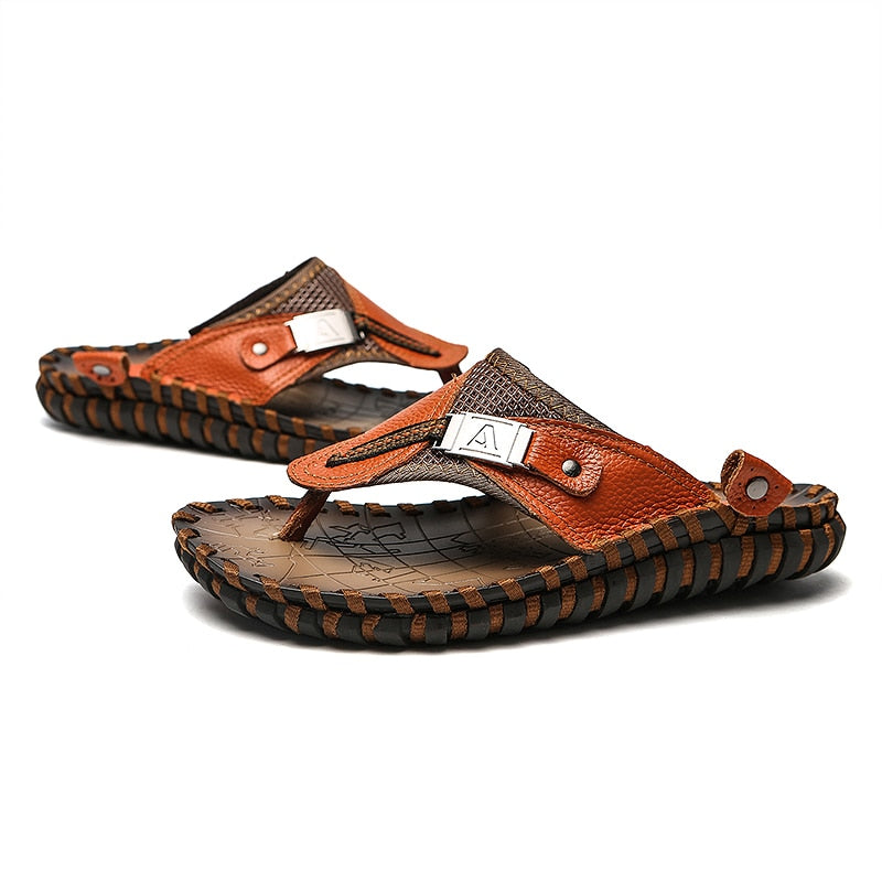 0a078f3df ... Men Slippers 2019 New Summer Beach Genuine Leather Shoes Men Casual Sandal  Flip Flops Slip- ...