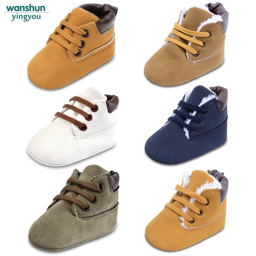 deb70f5cec30a Newborn Baby Boys Classic Handsome First Walkers Shoes Babe Infant Toddler  Soft Soled Boots 5 color ...