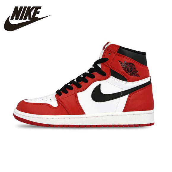 Nike Air Jordan 1 Retro High-top OG Authentic Red White Breathable Mens Basketball Shoes Sneakers For Men Shoes#555088-101