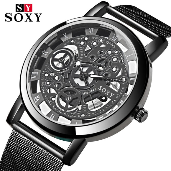 SOXY Hollow Skeleton Watch Men Watch Fashion Mens Watches Top Brand Luxury Men's Watch Clock saat erkek kol saati reloj hombre