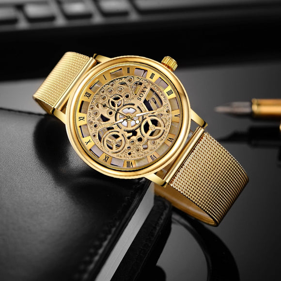 SOXY Luxury Skeleton Watches Men Watch Fashion Gold Watch Men Clock Men's Watch relogio masculino erkek kol saati reloj hombre