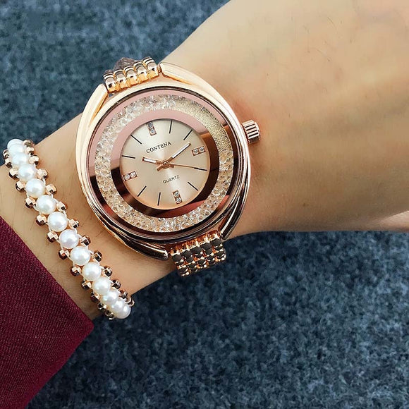 Top Brand CONTENA Watch Women Watches Rose Gold Bracelet Watch Rhinestone Ladies Watch Women Clock zegarek damski reloj mujer