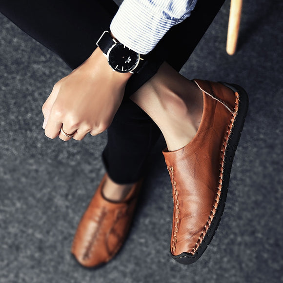 Winter Men Shoes Leather Loafers Mens Moccasins Flats Low Men Shoes Slip On Men Casual Shoes Fashion High Top Big Size 2019 New