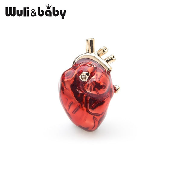 Wuli&baby Red Enamel Heart Brooches For Women And Men Hospital Clinic Professional Uniform Brooch Pins Team Gifts