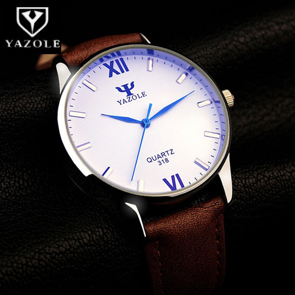 YAZOLE Blue Glass Wrist Watch Men Watch Fashion Men's Watch Waterproof Men's Wrist Watches Clock reloj hombre erkek kol saati