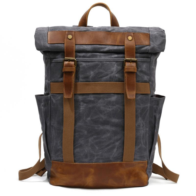 ... YUPINXUAN 100% Pure Cotton Oil Wax Canvas Backpack Mens Large Capacity  Vintage Waterproof Backpack 15 1b2d74db4e249
