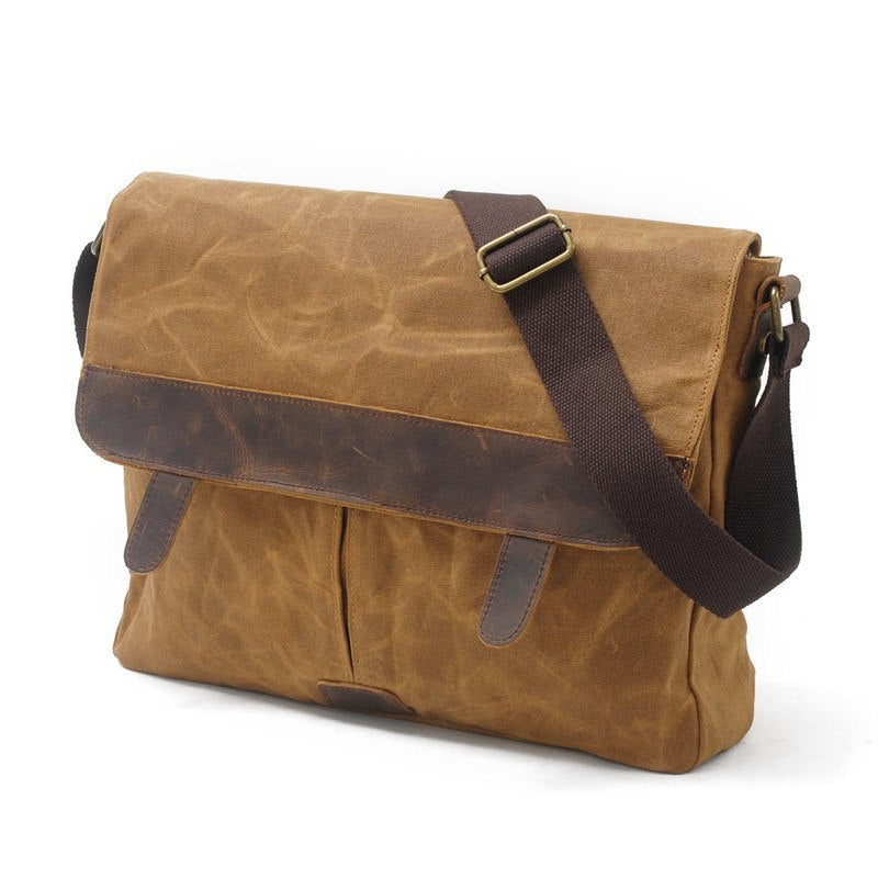 8818698826 ... YUPINXUAN Mens Oil Wax Waterproof Canvas Leather Shoulder Bags 14