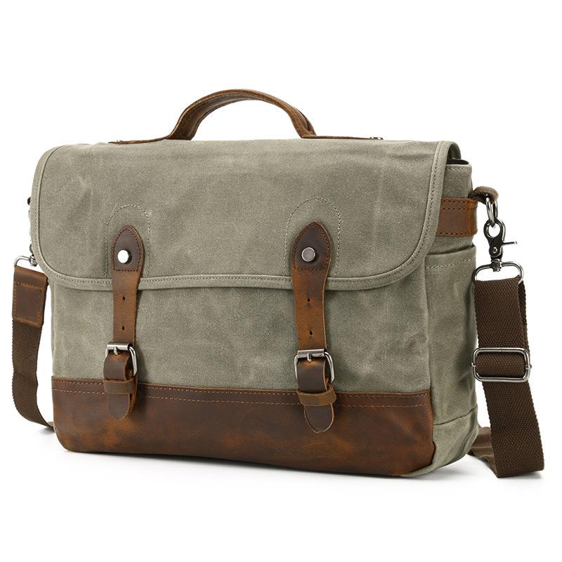 1f8a98119a16 ... YUPINXUAN Mens Waterproof Canvas Shoulder Bags Pure Cotton Oil Wax  Canvas Messenger Bag Vintage Rivets+ ...