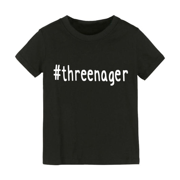 #threenager Letters Print Kids tshirt Boy Girl shirt Children Toddler Clothes Funny Top Tees Z-79