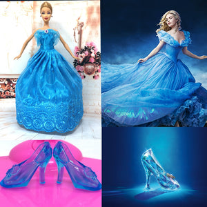 NK Imitation Fairy Tale Princess Cinderella Wedding Dress+Crystal Shoes For Barbie  Doll Best Girls c7cf86cb2926
