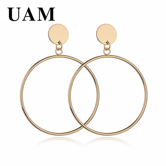 UAM New Arrive Silver/Gold Color Long Hollow Big Round Drop Earrings Hiphop Rock Simple For Women Accessories Jewelry