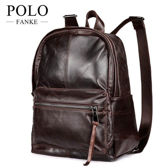 515bfd020a49 100% Soft Genuine Leather Backpacks Vintage Style Men s Day Pack Casual  School Laptop Shoulder Bags