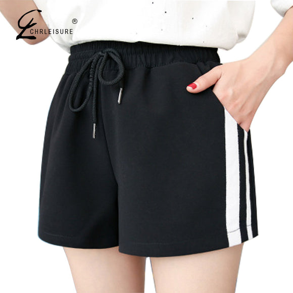 CHLEISURE High Waist Women Shorts Casual Summer Lace Up Wide Leg Short Workout Striped Short Femme S-2XL 2 Colors