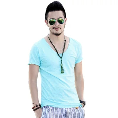 040144efad1 ... Men s Exclusive Pretty Tops V Neck T Shirts Stunning Cut Off Border New  Summer Style ...