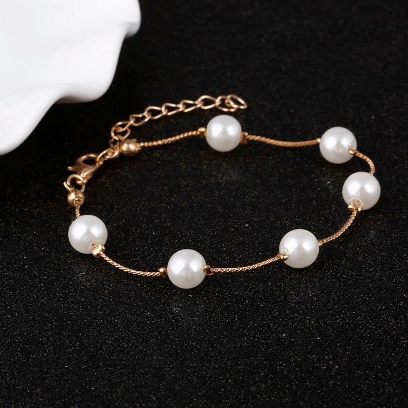 Exquisite Imitation Pearl Bracelet Rose Gold Color Bracelets Anklets  Jewelry Women Gifts