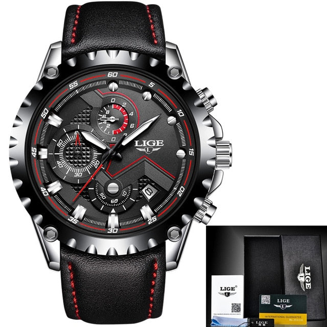 ... Mens Watches Top Brand Luxury LIGE Quartz Watch Men Sport Chronograph  Military Leather Strap Male Watches ... feb132cd4f39