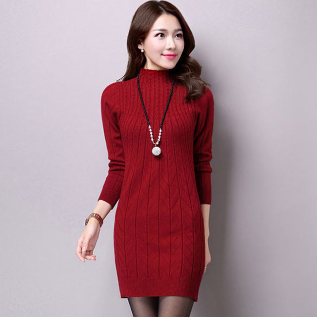 5058491a5f0b ... UPPIN 2017 Autumn Winter New Middle-aged Women Long Paragraph Wool  Bottoming Shirt Wild Warm ...