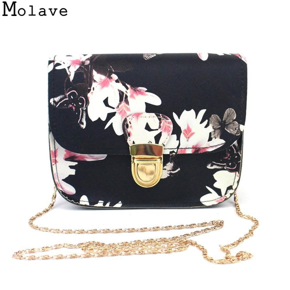 c0c788092905 bolsa feminina Women Hot Butterfly Flower Printing Chains Pu Leather  Messenger Bag Girl Elegant Shoulder Bag