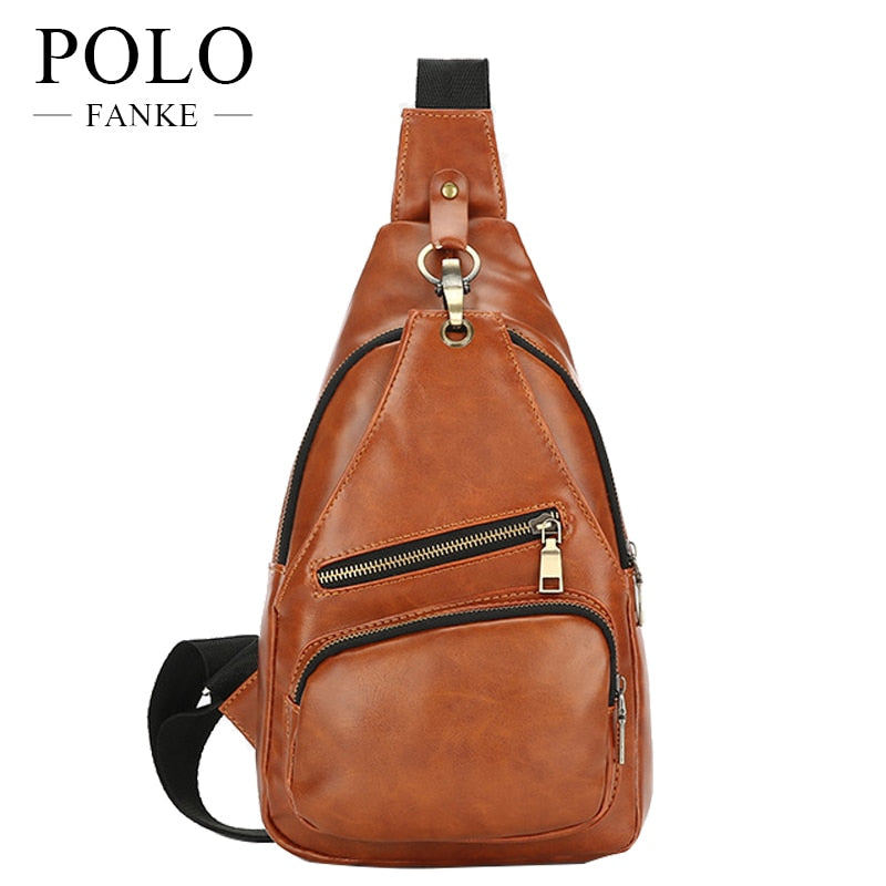 FANKE POLO chest crossbody bag Casual men messenger bag high quality chest  travel pack pu leather ... b6472f26ec794