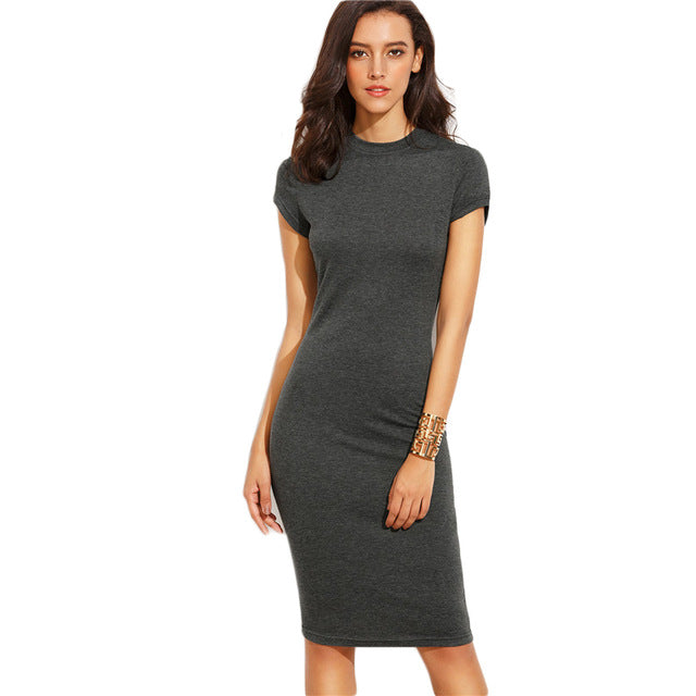 bfb388bf9b33 ... COLROVIE Summer Office New Arrival Women's Bodycon Dresses Fashion Sexy  Short Sleeve Crew Neck Work Knee ...