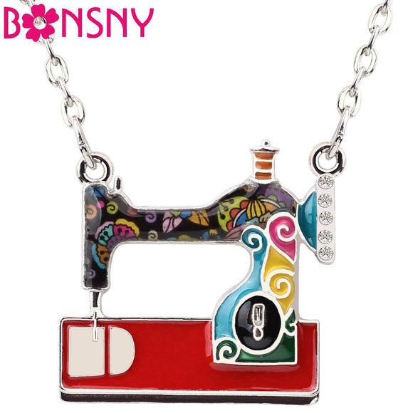 Bonsny Statement Enamel Alloy Sewing Machine Necklaces Pendants Choker Chain Collar Fashion Jewelry For Women Girl Accessories