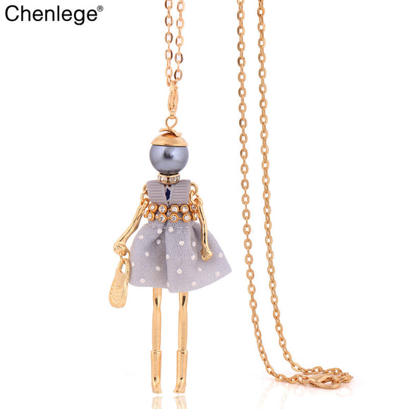 chenlege long chains doll necklace big choker crystal 2017 lovely dress charm pendant jewelry women necklace fashion wholesale