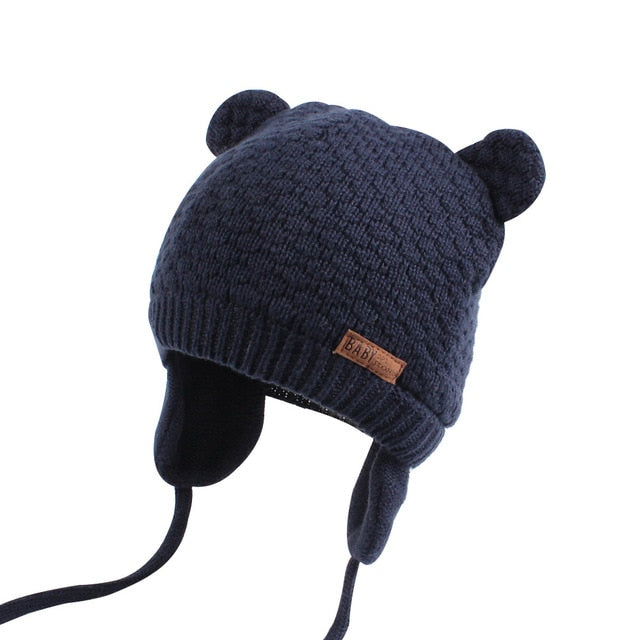 400921b92be ... Bear Ears Cute Baby Hat Soft Cotton Newborn Baby Beanie Double Layer  Warm Winter Hat For ...