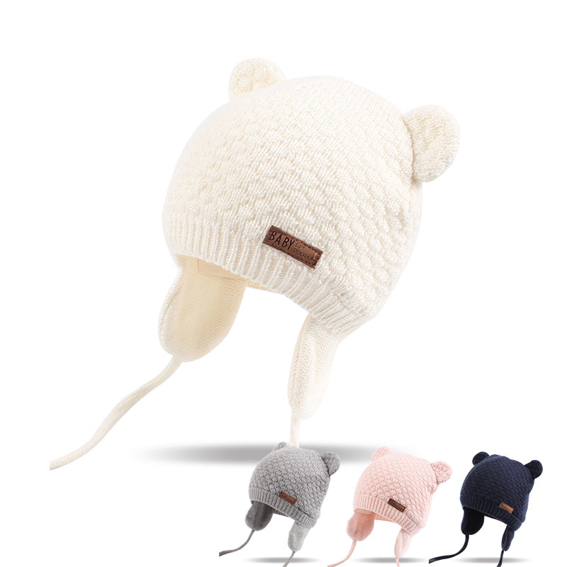 c1f922dfe33 Bear Ears Cute Baby Hat Soft Cotton Newborn Baby Beanie Double Layer Warm Winter  Hat For ...