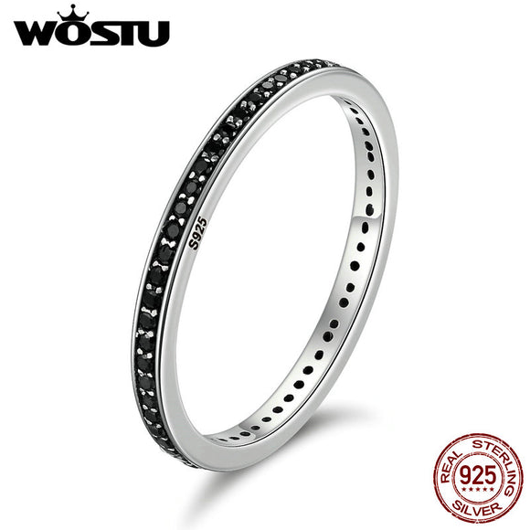 47acba5c0 WOSTU Authentic 925 Sterling Silver Finger Stackable Rings With Black CZ  For Women Fashion Jewelry Fine