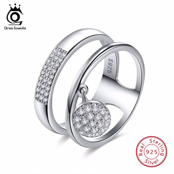 ORSA JEWELS 100% Genuine 925 Sterling Silver Women Rings AAA Shiny Cubic Zircon Pave Setting Female Party Jewelry SR54