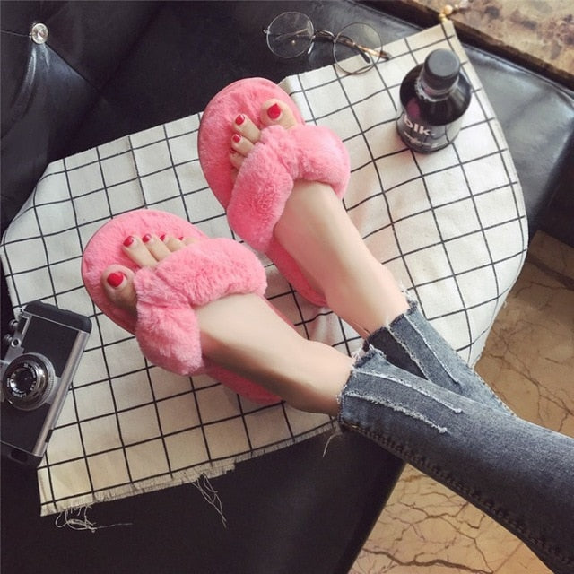 8dbd1cce6be190 ... COOTELILI Winter Fashion Women Home Slippers Faux Fur Warm Shoes Woman  Slip on Flats Female Fur
