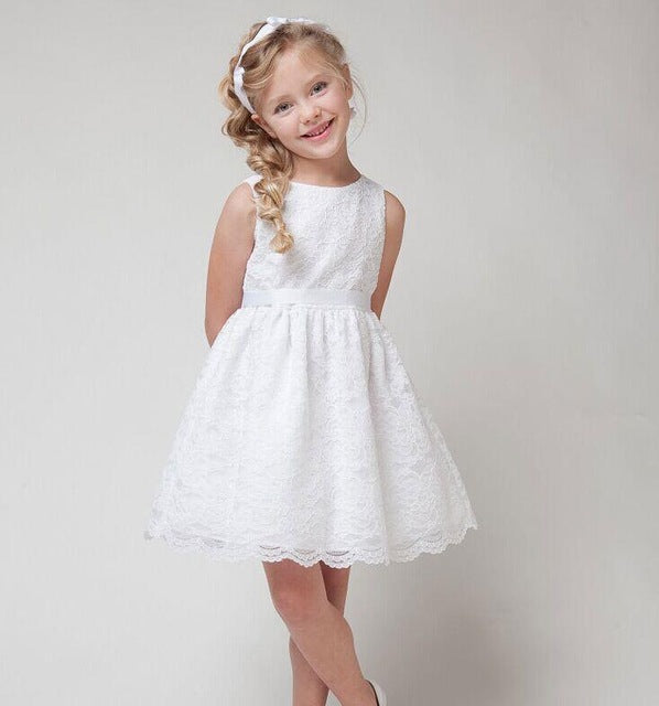673f03d9db81f 2017 SUMMER NEW Children Clothes Girls Beautiful Lace Dress Quality White  Baby Girls Dress Teenager Kids Dress For Age 2-12