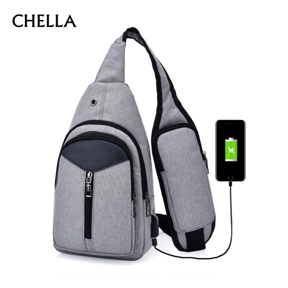 Anti Theft Men Backpack Canvas USB Rechargeable Chest Bag Headphone Hole Teenager Single Shoulder Boy Bag Sac A Dos Homme BP0212