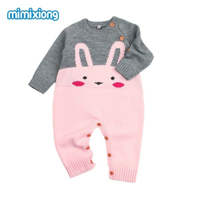 6f7b5f304c68f ... Baby Girls Rompers 3D Rabbit Knitted Toddler Boys Jumpsuits Long Sleeve  Newborn Infant Bunny Onesie Outfits ...