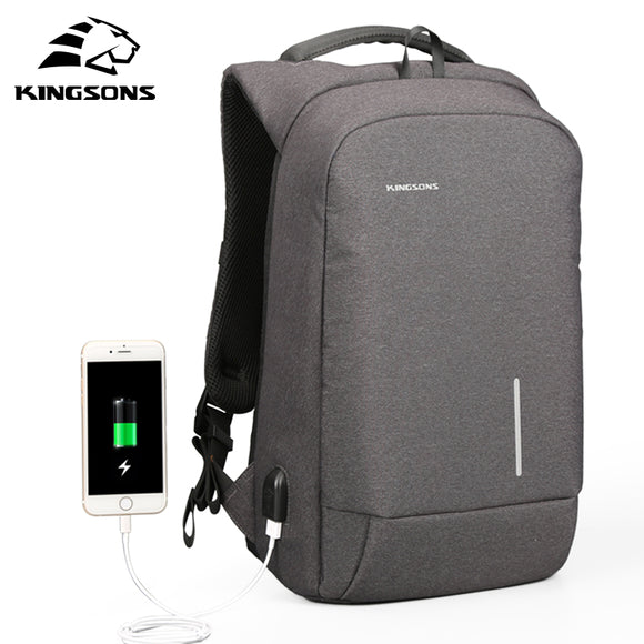 Kingsons USB Charge Anti Theft Men Backpack 15.6'' Laptop Backpack Large Capacity Casual Waterproof Bag women 13''backpack
