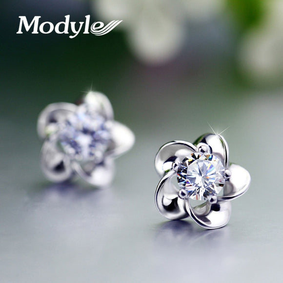 Wedding Jewelry Women Earrings Bijoux Silver-Color Zircon Enamel Flower Earrings
