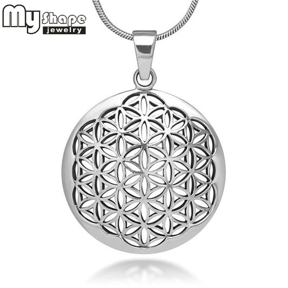 My Shape Flower of Life Mandala Necklace Pendant Jewelry Sacred Geometry Women accessories 3 styles 3 colors and 2 chain choose