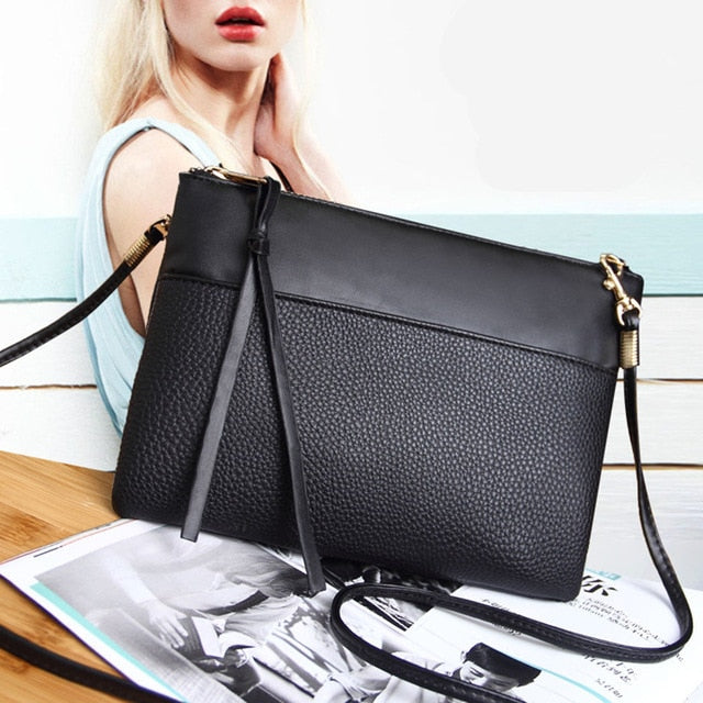 4b4a20ae38df ... Coofit Women s Clutch Bag Simple Black Leather Crossbody Bags Enveloped  Shaped Small Messenger Shoulder Bags Big