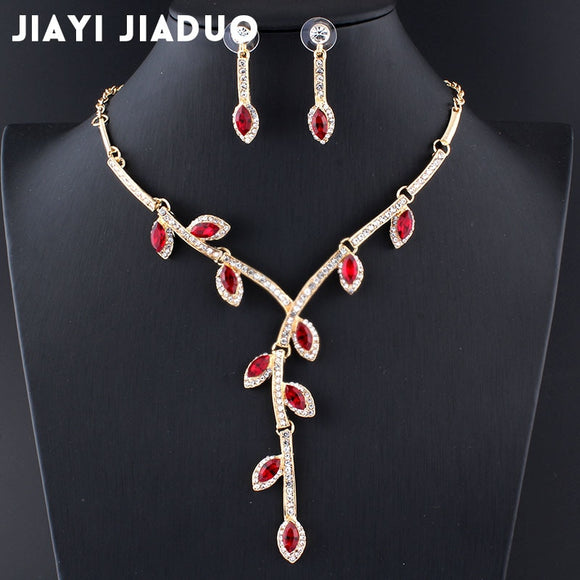 jiayijiaduo Fashion Charm Evening Dress Jewelry Set for Women Necklace Earrings Set 3 colors gift Crystal leaves drop shipping