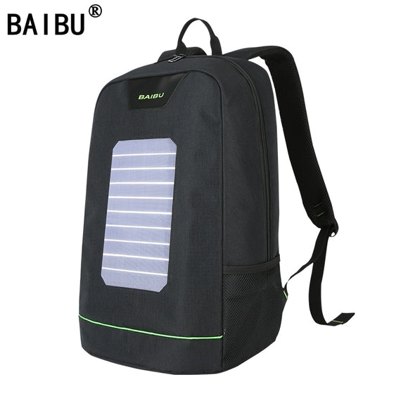 BAIBU Men Backpack 10W Solar Powered Backpack Usb Charging Anti-Theft Laptop Backpack for women Laptop Bagpack Waterproof Bags