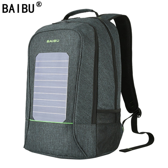 BAIBU Men Backpack Waterproof  Laptop Backpack 10W Solar Powered Backpack Usb Charging Anti-Theft Notebook Bag For Teenagers