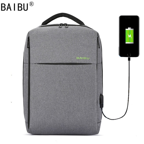 BAIBU Tide Fashion Anti Theft Men Backpack External USB Notebook Computer Charge Lnterface Travel Business Affairs Backpack